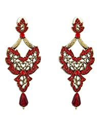 Aqua Red Stone Studded Chandelier Style Danglers Made Using Engraved Golden Color Metal