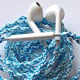 Wrapped Tangle Free Earbuds Tiffany Blue and White Swirl Headphones w/mic & volume control Made for Apple iPhone 4s, 5, 5c, 5s, iPad, iPod, EarPods, Headphones