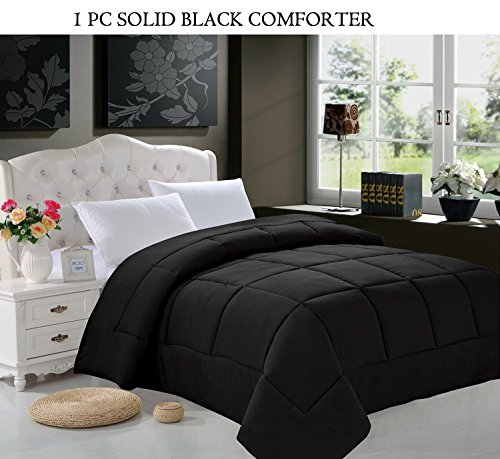 Super Soft Goose Down 1Pc Solid Alternative Comforter - All Sizes And Many Colors Available , Twin/ Twin Xl, Black