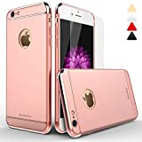 iPhone 6 case, bonsalay 3 in 1 Ultra Thin and Slim Design Coated Premium Non Slip Surface Shockproof Plating Metal Texture Skin Protector For Apple iPhone 6 and iPhone 6s-Rose Gold(4.7'')