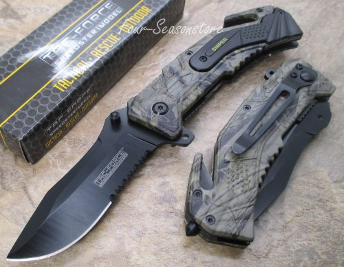 Tac-force Assisted Opening Sawback Bowie Rescue Folder Sniper Army Black Half Stainless Steel Blade Knife - Forest Camo