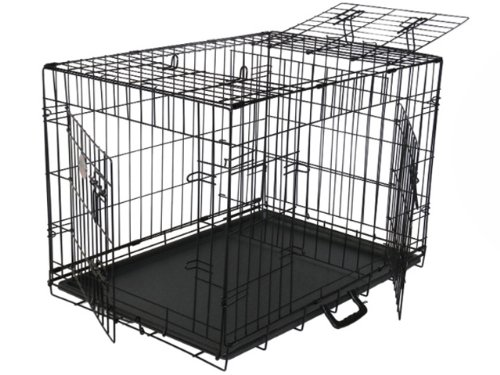 Gopetclub 3-Door Metal Pet Crate, 48-Inch