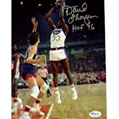 David Thompson HOF 96 Denver Nuggets Signed Autographed 8x10 Photo JSA Stamp