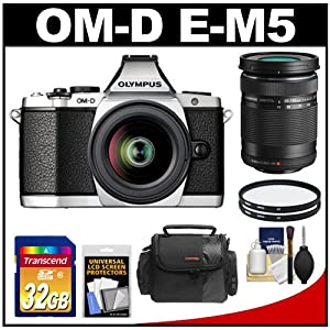 Olympus OM-D E-M5 Micro 4/3 Digital Camera & 12-50mm Lens (Silver/Black) with M.Zuiko 40-150mm Lens + 32GB Card + Case + Filters + Accessory Kit