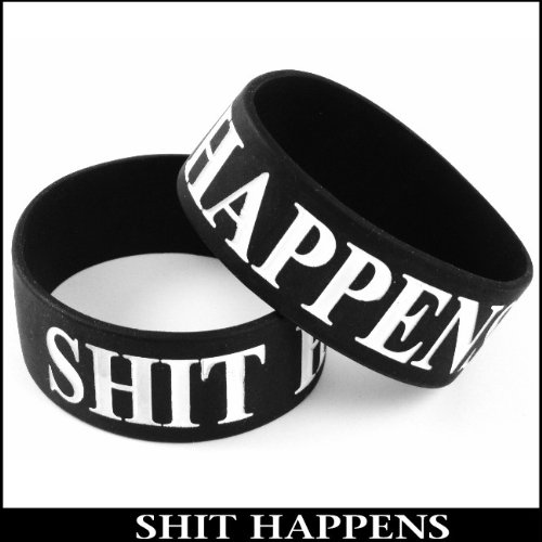 Shit Happens Designer Rubber Saying Bracelet