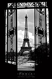Cartoon world Eiffel Tower in 1909-Paris-Black and White, Photography Poster 20x30\'