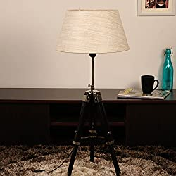 Cocovey Sheesham Wood Khaadi Cotton Shade Floor Tripod Lamp