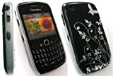 EMARTBUY BLACKBERRY 8520 CURVE / 9300 CURVE 3G BLACK FLOWERS SUPER SLIM CLIP ON PROTECTION CASE/COVER/SKIN + SCREEN PROTECTOR