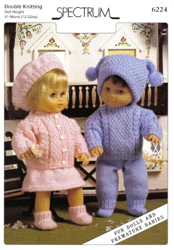 "Spectrum Dolls Clothes Knitting Pattern: For Dolls and Premature Babies: Boy's Outfit Sweater, Trousers, Socks, Hat: Girl's Outfit Cardigan, Skirt, Socks, Beret (To fit doll height 12""-14"" 15""-18"" 19""-22"" - 31cm-36cm 38cm-46cm 48cm-56cm)"