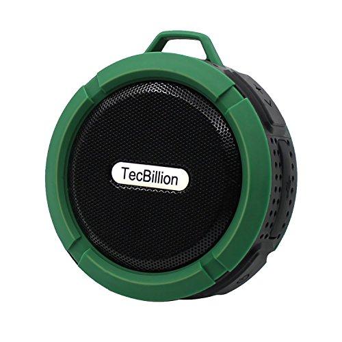 TecBillion Wireless Bluetooth 3.0 Outdoor & Shower Speaker, Waterproof/3W Speaker/Suction Cup/Mic/Hands-Free Speakerphone, Army Green