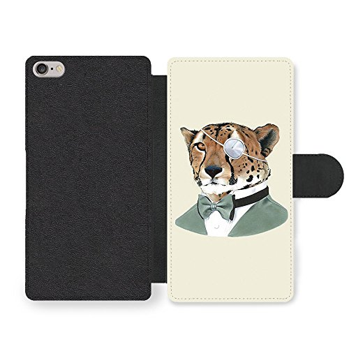 Cheetah in Suit Bowtie Eye Patch Funny Animal Hipster Illustration custodia in Faux Pelle per iPhone 6 6S