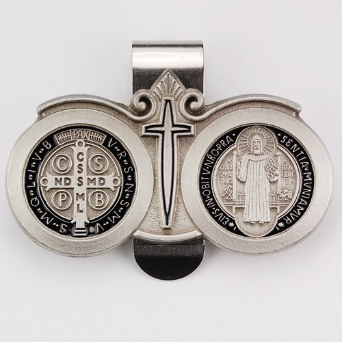Pewter St. Benedict Visor Clip With Black Enamel/Carded Pewter Visor Clip. The Medal Is A Prayer Of Exorcism Against Satan, A Prayer For Strength In Time Of Temptation, A Prayer For Peace Among Ourselves And Among The Nations Of The World, A Prayer That T