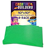 Creative Builders | 4-Pack Sets of X Large Green Building Brick Baseplates (Giant 10