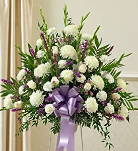 1800Flowers - Heartfelt Sympathies Lavender Standing Basket - Large