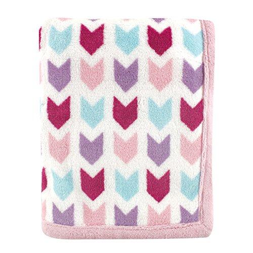 Hudson Baby Print Coral Fleece Blanket, Pink Chevron - 1