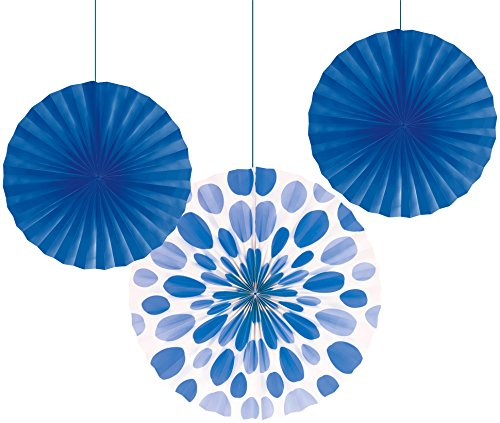 "Creative Converting 3 Count Solid and Polka Dots Paper Fans, 12""/16"", True Blue"