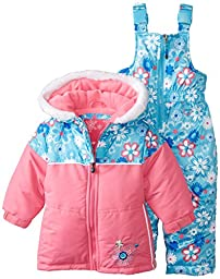 Rugged Bear Baby Girls\' All Over Flower Snowsuit, Pink, 24 Months