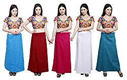 Pistaa combo of Women's Cotton Turquoise Blue, Deep Maroon, Dark Pink, Milky White and Dark Rama Color Best Indian Readymade Casual Inskirt Saree petticoats