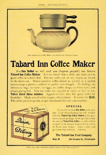 1904 Ad Tabard Inn Coffee Maker Food Philadelphia Tea - Original Print Ad