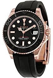 Rolex Yacht-Master Automatic Black Dial 18kt Everose Gold Black Rubber Strap Unisex Watch 268655BKSRS