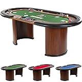 Pokertisch-ROYAL-FLUSH-213-x-106-x75-cm-FARBWAHL-Gewicht-58kg-9-Getrnkehalter-gepolsterte-Armauflage