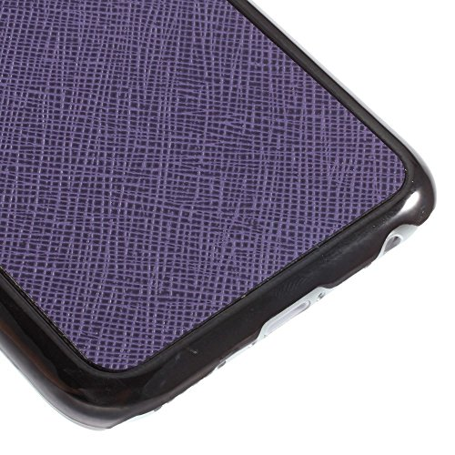 JUJEO Purple Cross Leather Skin Plating Hard Case Accessory for iPhone 6 4.7-Inch - Non-Retail Packaging - Purple