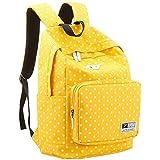 UZZO Girl's Women's Vintage Cute Polka Dot Backpack School Book Campus Bag (Yellow)