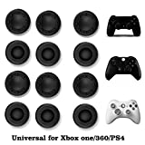VizGiz 12 Pack Universal Thumbstick Grips PS4 Thumb Grip Analog Stick Covers Joystick Controller Cap Silicone Precision Rubber for PS4 Xbox ONE Xbox 360 PS3 PS2 Pro Slim Lite Dualshock WII U Black
