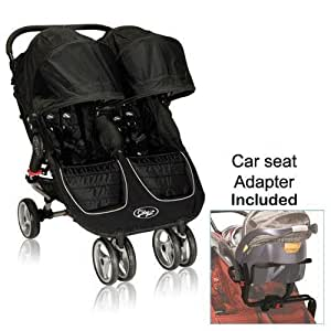 baby jogger 12210 city mini double stroller in black gray with new car seat adapter. Black Bedroom Furniture Sets. Home Design Ideas