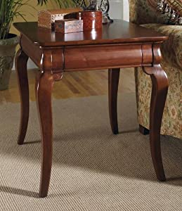 Chateau Royal Rectangular End Table in Brown Finish