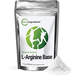 Naturally Fermented Pure L-Arginine Base Powder - Support Nitric Oxide (110 gram / 3.88 oz) Vegan Amino Acids
