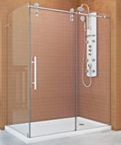 Hot Sale DreamLine SHEN-6234600-07 Enigma-Z Fully Frameless Sliding Shower Enclosure Hardware, Brushed Stainless Steel Hardware, 34 1/2-Inch by 60 3/8-Inch
