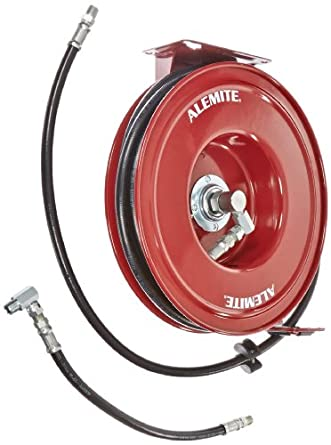 "Alemite 8078-D Heavy-Duty Hose Reel, Heavy Duty Hose Reels, 50' Hose Length, 1/2"" (NPTF) Inlet, 1/2"" (NPTF) Outlet, 1500.0 psi Max, 1/2"" NPTF Inlet x 1/2"" NPTF"