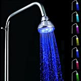 Great Value Shower Heads Water Glow Power Rainfall 7 Colors Changing LED Flash Light Bathroom Top Shower Head