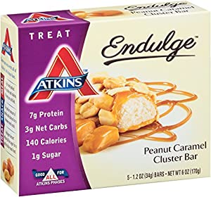 Atkins, Endulge Bar, Peanut Caramel Cluster, 5 ct