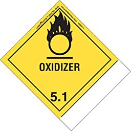 Labelmaster HSNV11 Oxidizer Label, Blank, Shipping Name, PVCF, Standard Tab, Made in the U.S.A, 4.75\