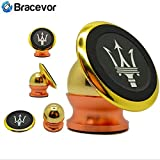 Bracevor Premium Magnetic Car Mount 360 degree Universal holder for Mobile, tablet or GPS (Golden)