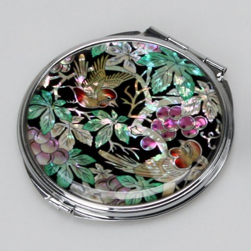 Specchio a mano in madreperla arte deco specchio compatto specchio tascabile con motivo farfalle - La mano sullo specchio ...