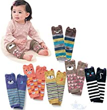 Luckystaryuan reg Christmas Gift Set of 6 Combed cotton Baby Cartoon Bear Kneepads Socks Unisex Leg