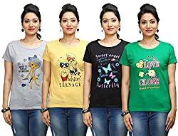 Flexicute Women's Printed Round Neck T-Shirt Combo Pack (Pack of 4)- Pakistan Green, Grey Milange, Black & Yellow Color. Sizes : S-32, M-34, L-36, XL-38