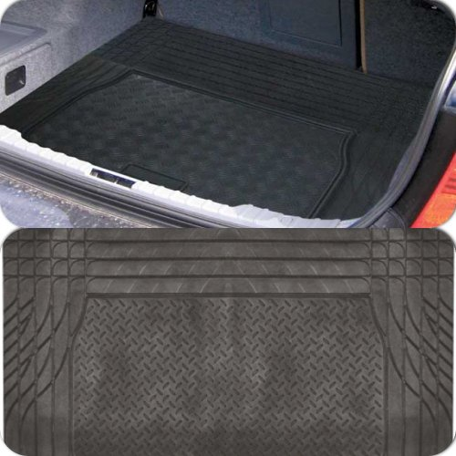 Black Heavy Duty Rubber Boot Protection Mat Liner for Land Rover Freelander II (2007 Onwards) - Trim for Secure Fit