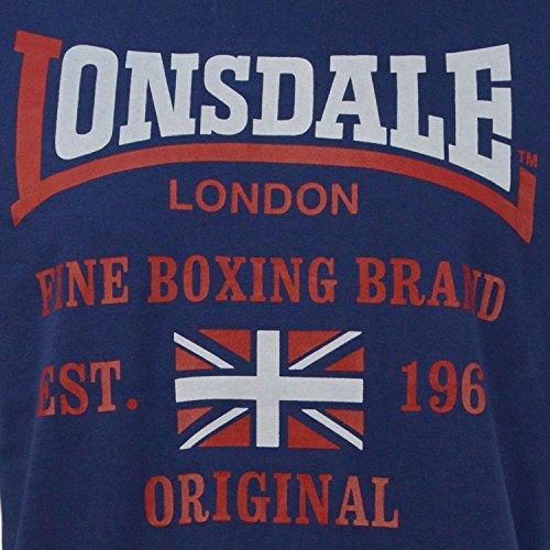 T-Shirt MM Lonsdale London Uomo Jersey Slub 100% Cotone Navy con Stampa-XXL