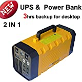 NEW 2 in 1 ! 500W Portable Uninterruptible Power Supply (UPS) + 26A Power Bank External Battery for Outdoor Activities Long Time Standby AC DC Power with 4 USB ports 6.3A, 2 AC Outlets, intelligent CPU Control