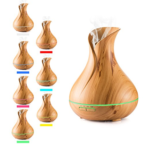 Diffusore di Oli Essenziali, lofoson 400ml Umidificatore, grana del legno a Brume fresca con la presa di UE 7colori LED lampada d' atmosfera perfetto per camera, ufficio, yoga