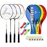 Guru KarbonBR03 Series-COMBO-1 Badminton Racquets Set Pack Of Four With Four Cover Six Shuttlecock & Four Hand...