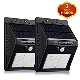 Habor 16 LED Solar Panel Powered Motion Sensor Lamp Outdoor Light