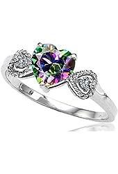 Tommaso Design Genuine Mystic Topaz Heart Shape Engagement Promise Ring