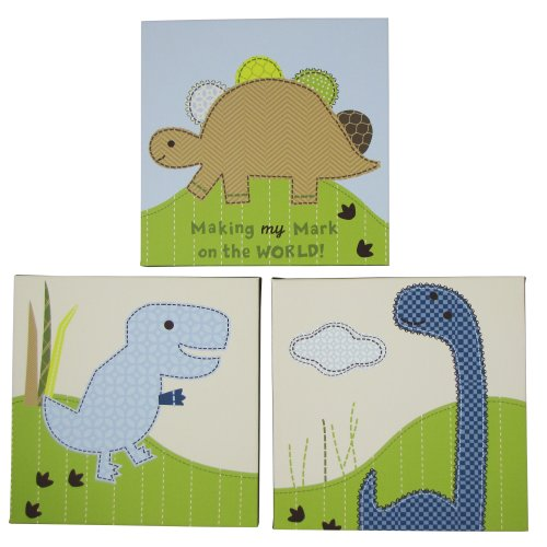 Jill McDonald Adorable Dino 3 Piece Wood Frame Wall Art (Discontinued by Manufacturer)