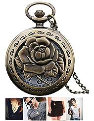 LMP3Creation Bronze Classic Vintage Retro Antique Skeleton Hollow Rose Flower Design Chain Pocket - Pendant Necklace...