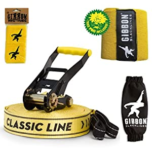 15m CLASSIC X13 Slackline TREE PRO Set with tree protection & ratchet cover + wristbands bundle
